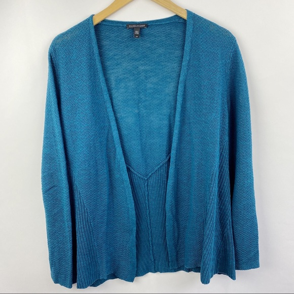 Eileen Fisher open blue cardigan